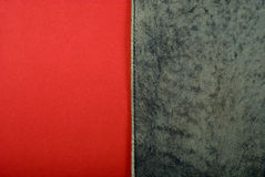 Leather on red paper Stock Photo