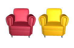 Leather red and yellow armchairs on white background. Front view vector illustration