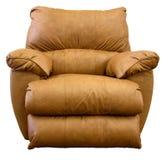 Leather Rocker Recliner Chair. Plush Saddle Brown Leather Rocker Recliner Chair Royalty Free Stock Image
