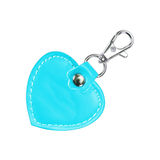 Leather Round Keychain with clip lock for Key Isolated on white Royalty Free Stock Images