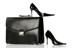 Leather's suitcase with elegant shoes Royalty Free Stock Photo