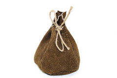 Leather sack. The leather sack full of coined golds stock image