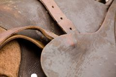 Leather saddle Royalty Free Stock Photos