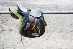 A leather saddle Stock Photography