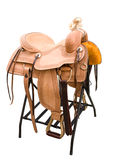 Leather saddle horses Stock Image