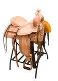Leather saddle horses Stock Image