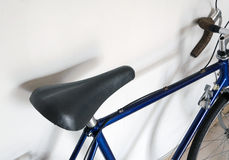 Leather saddle of touring bicycle Royalty Free Stock Photos