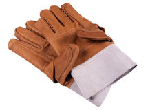 Leather safety work gloves. Long Leather safety work gloves Royalty Free Stock Photography