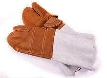 Leather safety work gloves Stock Image