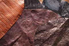 Leather samples Royalty Free Stock Images