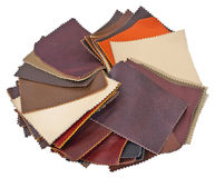 Leather samples. Isolated on a white background.  No shadows on the background Stock Photography