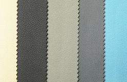 Leather samples of different colors. For interior design as background stock photography