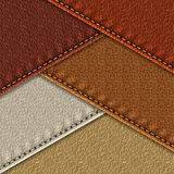 Leather samples with seams. Set of realistic leather textures with stitches. Leather backgrounds of different brown shades. Vector illustration Royalty Free Stock Photos