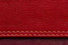Leather samples with stitches Royalty Free Stock Images