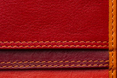 Leather samples with stitches Royalty Free Stock Photos