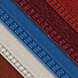 Leather samples with stitches. Set of realistic leather textures with seams. Leather backgrounds of different shades. Vector illustration Royalty Free Stock Photo