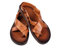 Leather sandal. Leather male sandal shoe on white background Royalty Free Stock Image