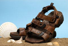 Leather Sandals. A fashionable shot of a pair of males leather sandals on a beach scene Royalty Free Stock Image