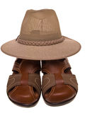 Leather sandals and fedora hat Stock Photo