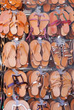 Leather sandals. Various leather sandals and flats flip flops footwear Royalty Free Stock Images