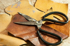 Leather and scissors Royalty Free Stock Photo