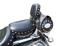 Leather seat of ancient motorcycle stock image