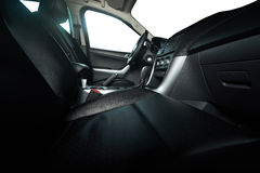Leather seats in pickup truck. Leather seats in modern pickup truck with isolated windows stock photos