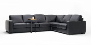 Leather sectional sofa. Black Leather sectional sofa on white background Stock Images
