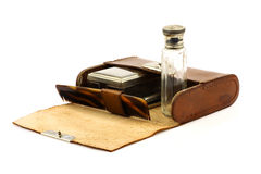 Leather shaving kit Stock Photos