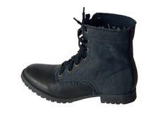 Leather shoe, dark blue shoes Stock Photos