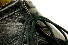 Leather shoe detail Stock Photo