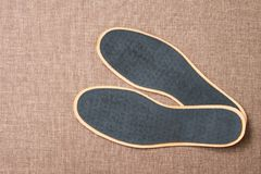 Leather shoe insoles. For sport, fitness, everyday life. Top view Royalty Free Stock Photography