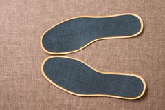 Leather shoe insoles. For sport, fitness, everyday life. Top view Royalty Free Stock Photos