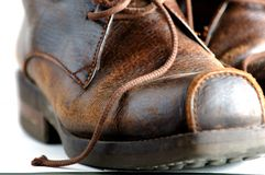 Leather shoes. A close-up of leather shoes with white background Stock Photo