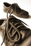 Leather Shoes. Men's footwear. Focus is on the second shoe in the background Royalty Free Stock Photography