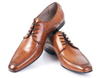 Leather shoes. Brown leather shoes on white background