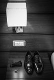 Leather shoes. A pair of elegant black leather shoes Royalty Free Stock Photos