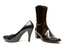 Leather shoes. Woen leather shoes, boot and shoe on white Royalty Free Stock Photography
