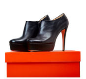 Leather shoes on a box Royalty Free Stock Image