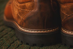 Leather shoes close up, rear view. High sole Stock Photos
