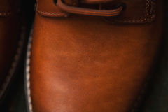 Leather shoes closeup. Background texture of leather, nubuck Stock Photo