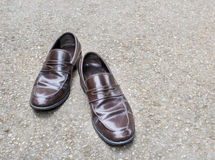 Leather shoes on the floor Royalty Free Stock Images