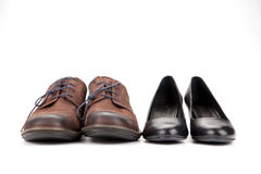 Leather shoes for men and women Stock Image