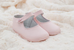 Leather shoes pink of baby Royalty Free Stock Photo