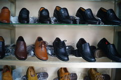 Leather shoes processing shop Royalty Free Stock Photography