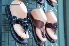 Leather shoes in rack Royalty Free Stock Image