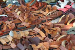 Leather shoes for sale. India. Market Royalty Free Stock Images