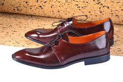 Leather Shoes with a slim elongated toe, made from a smooth brown leather Royalty Free Stock Photos