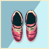 Leather Shoes Sneakers Fashion man footwear flat design illustration Royalty Free Stock Image