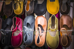 Leather shoes at traditional market. Leather shoes at traditional market Stock Photos